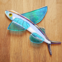 Flying Fish Fused Glass Wall Hanging Decoration