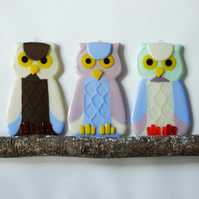 Fused Glass Owl Wall Hanging Decorations