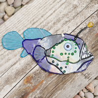 Angler Fish Fused Glass Fish Wall Art Hanging Decoration