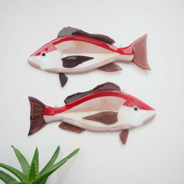 Red Snapper Fused Glass Fish Wall Hanging Decoration