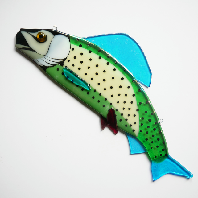 Fused Glass Grayling Wall Hanging Fish Art Decoration