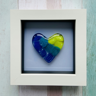 Beautiful Framed Cast Glass Heart with Dichroic glass