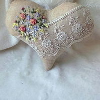Handmade & embroidered lavender scented heart