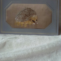 Handmade & silk embroidered hedgehog card