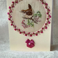 Handmade & silk embroidered wren greetings card