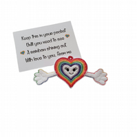 Rainbow Heart Pocket Hug Keyring or Bag Charm
