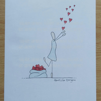 Unique Illustration of a Girl with Hearts - Original Art