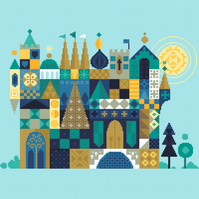 153 - Fairytale Jade Castle - homage to Mary Blair Disney - Cross Stitch Pattern
