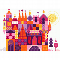 154 - Fairytale Ruby Castle - homage to Mary Blair Disney - Cross Stitch Pattern