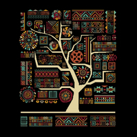 158 - African Aztec Inka Tribal Tree of Life - Earth - Cross Stitch Pattern