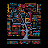 160 - African Aztec Inka Tribal Tree of Life - Fire&Water - Cross Stitch Pattern