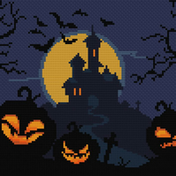 191 - Halloween Pumpkin Lanterns, Haunted Castle & Grave - Cross Stitch Pattern