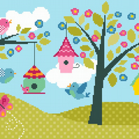190 - Cute Bird Houses & Flower Blossom - Cross Stitch Pattern