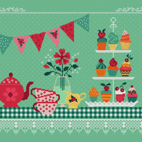 199 - Tea Party & Cup Cakes - Classic British Summer Garden Party - CS Pattern