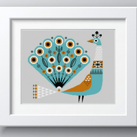 206 - Scandinavian Peacock - Geometric Folk Art - Cross Stitch Pattern