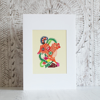 Handmade card: Chinese papercut dog