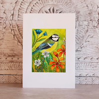 Handmade card. Mixed media - Blue tit and flowers.