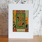Mini collage art card: Elephants on green