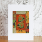 Mini collage art card: Elephants on orange