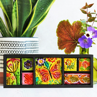 Boho home decor. Butterfly and flowers triptych.
