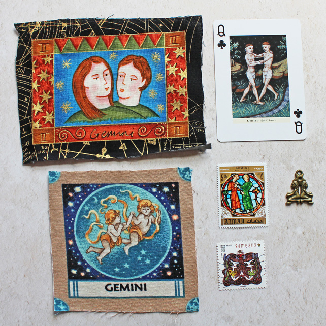 Craft destash. Zodiac Gemini - fabric panels, playing card, stamps and charm.