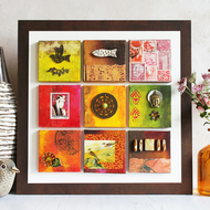 Mixed media artwork. Mini Canvas Gallery in Red and Burnt Umber.