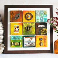 Mixed media artwork. Mini Canvas Gallery in Moss and Orange.