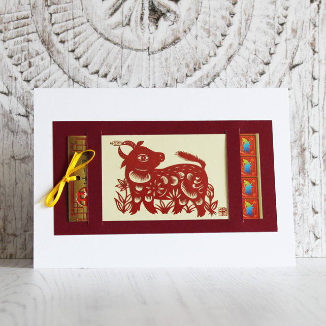 Handmade card with Chinese paper cut Ox