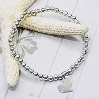Sterling Silver Beaded Bracelet with Heart Charm