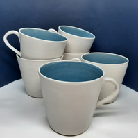Large blue and white hand thrown ceramic mug