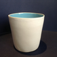 Hand thrown ceramic green and cream breakfast or small pasta bowl