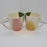 Large hand thrown porcelain stoneware mugs pink, green and yellow glaze