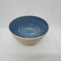 Blue and cream speckle ceramic bowl