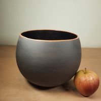 Large black clay ceramic bowl