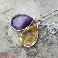 TEARS OF KALI AMETHYST AND CITRINE SET SILVER