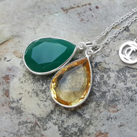 TEARS OF KALI GREEN ONYX AND CITRINE SET SILVER
