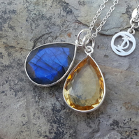 TEARS OF KALI LABRADORITE AND CITRINE SET SILVER