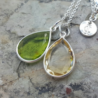 TEARS OF KALI PERIDOT AND CITRINE SET SILVER