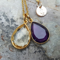 TEARS OF KALI AMETHYST AND CITRINE SET GOLD