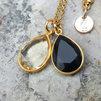 TEARS OF KALI BLACK ONYX AND CITRINE SET GOLD