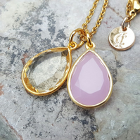 TEARS OF KALI CITRINE AND PINK CHALCEDONY SET GOLD