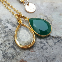 TEARS OF KALI GREEN ONYX AND CITRINE SET GOLD
