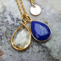 TEARS OF KALI LAPIS LAZULI AND CITRINE SET GOLD