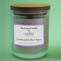 Hand-poured Soy Wax Container Candle - Sandalwood & Black Pepper Fragrance