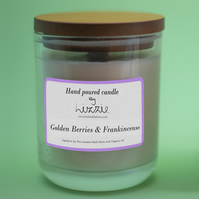 Hand-poured Soy Wax Container Candle - Golden Berries & Frankincense Fragrance