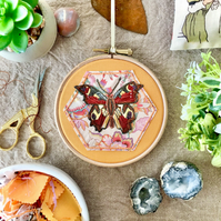 Embroidered Hoop, Things with Wings (in Orange) - Butterfly, Peacock