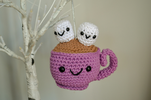 Hot Chocolate with Marshmallows Cute Crochet Christmas Decoration