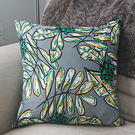 Grey, Green and Yellow Leaf Cushion Cover with optional Cushion Pad