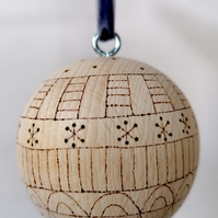 Wooden Scandi Patterned Bauble