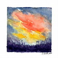 'Flash and crimson 2'- Original Watercolour Painting - 10x10,5 cm